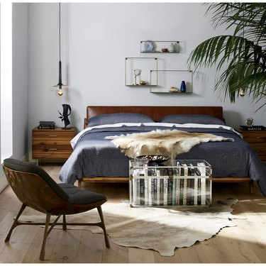 cb2 midcentury modern bedroom Drommen Acacia Wood Bed with Leather Headboard