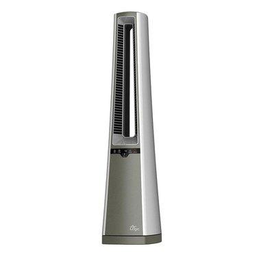 A silver tower fan