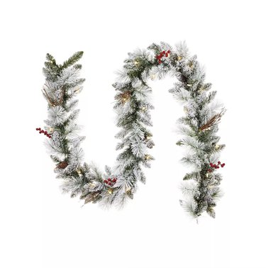 Noma Snow Dusted Berry and Pinecone Pre-Lit Garland