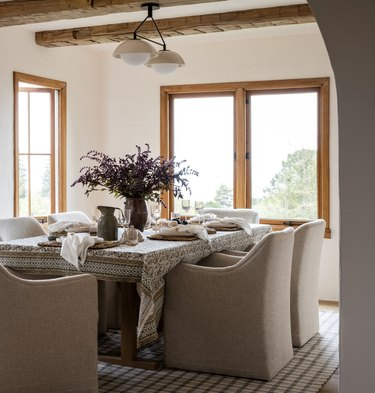 tonal dining room with lavender flowers