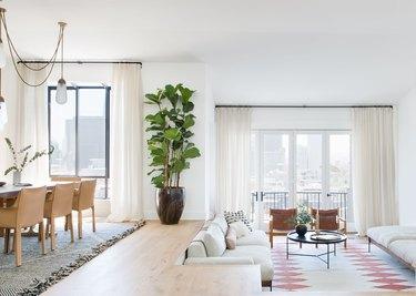 open concept living room with sunken living room