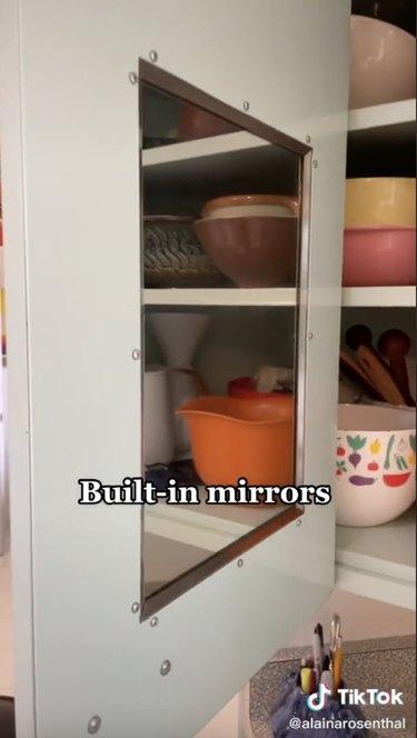 built-in midcentury kitchen mirrors