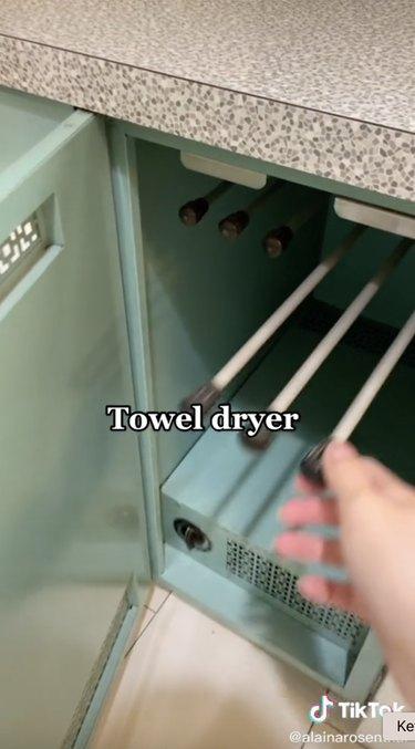 midcentury modern towel dryer in kitchen