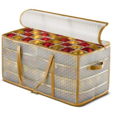 Polka dot plastic storage box for ornaments