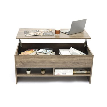 Wood coffee table with lift-top storage