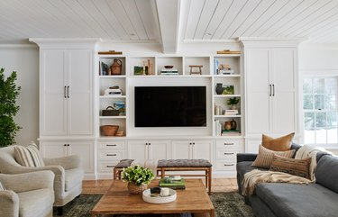 living room with tongue and groove ceiling and built in TV