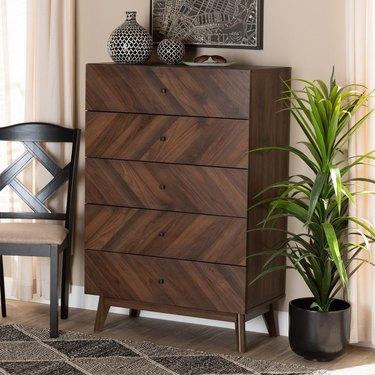 Baxton Studio Hartman Midcentury Modern 5-Drawer Storage Chest