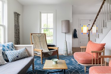 muted colorful farmhouse living room