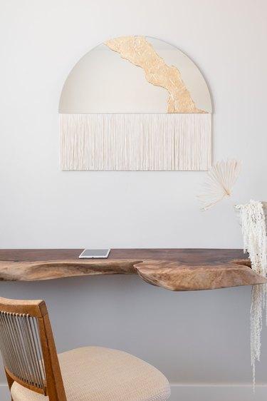 Mirror, art, desk, chair.
