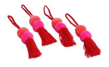Pom pom and fringe ornaments
