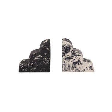one black and one white marble bookend