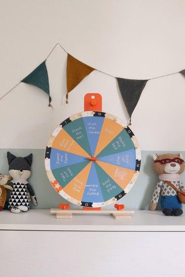 DIY IKEA hack kids activity chore prize wheel