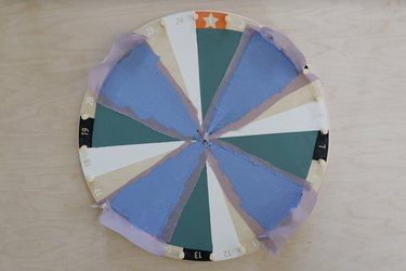Four quadrants painted on IKEA kids activity wheel