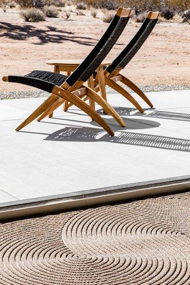Lounge chairs, patio.