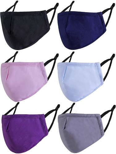 Purple and blue face masks