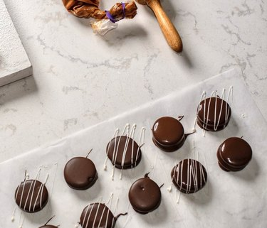 overhead shot of marble surface with chocolates