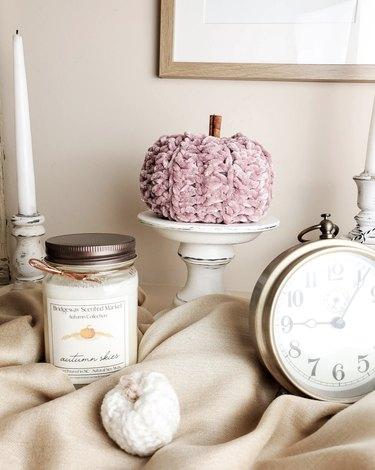 Iris and Evergreen Crochet Pumpkins
