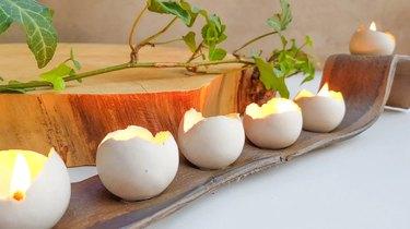 Egg menorah close up
