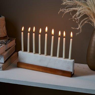 Wood and marble menorah