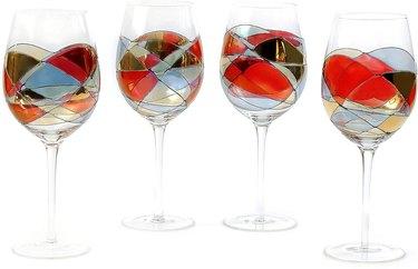 Colorful stemmed wine glass set