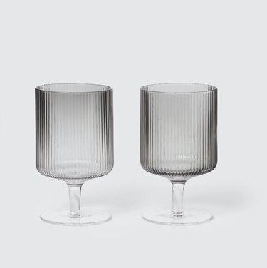 Ribbed wine glasses