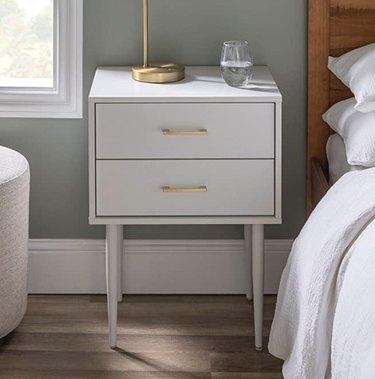 White Modern 2-Drawer Nightstand