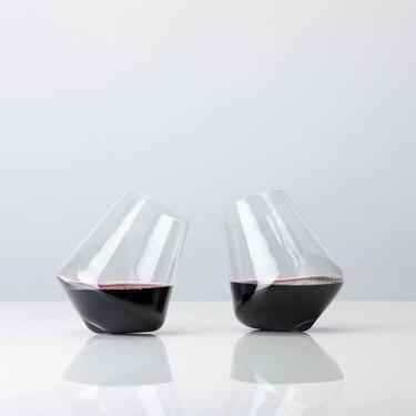 Wine glasses on side
