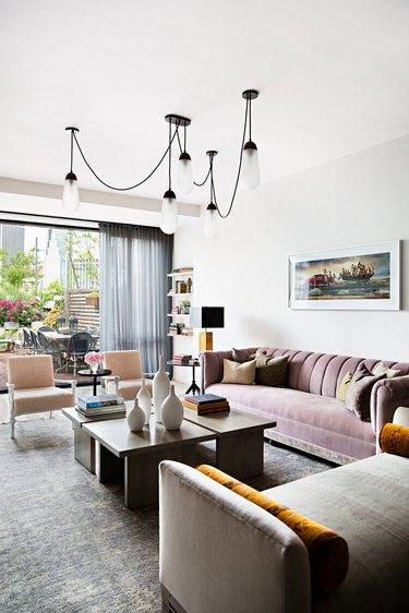 suspension chandelier in living room