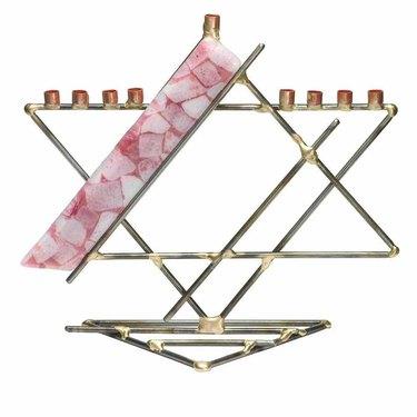Pink Jewish star menorah