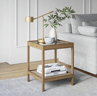 Glass and Wood Nightstand