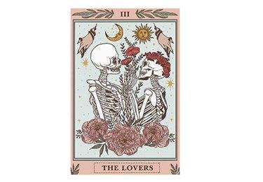 The Kissing Lovers Skull Tapestry