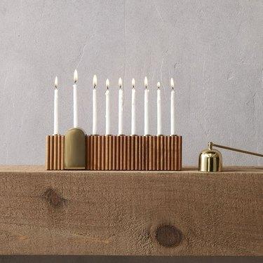 Wood and metal menorah