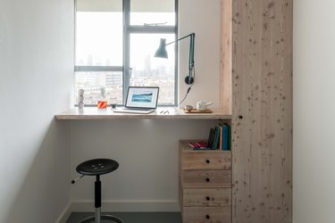 A desk in the second bedroom.