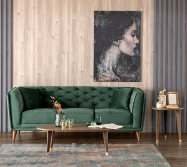 Tufted Green Mid Century Modern Sofa