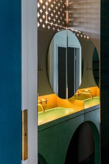 The bathroom vanity.