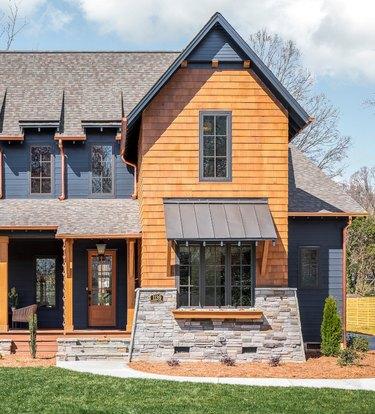 wood and blue farmhouse exterior