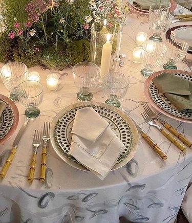 Table arrangements at Met Gala
