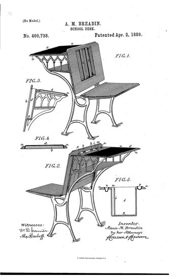 patent illustration of a desk and chair