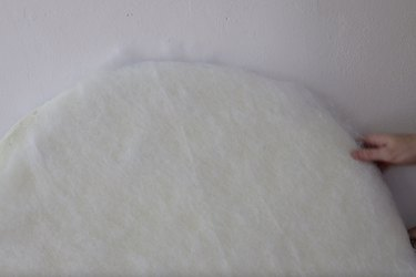 Covering foam on headboard with batting