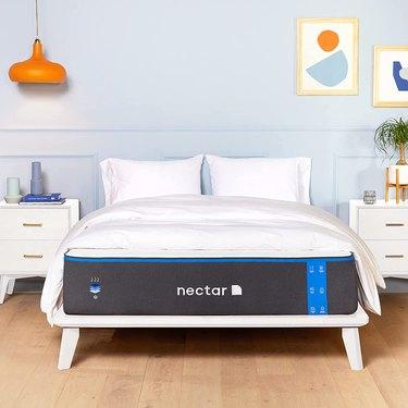 Nectar mattress on white bed frame