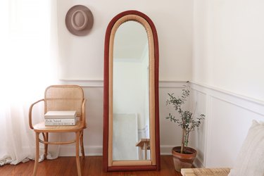 DIY upholstered arched floor mirror