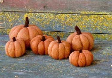 felted orange pumpkins