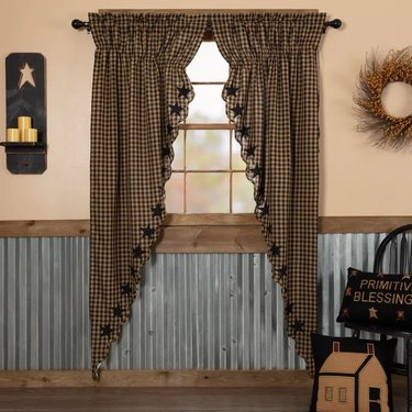 Scalloped plaid curtains