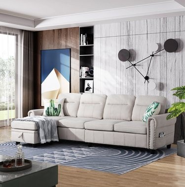 Round Arms Modular Slipcovered Sofa Chaise with Reversible Cushions