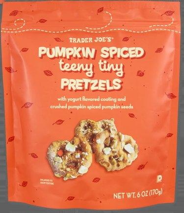 bag of pumpkin spiced teeny tiny pretzels