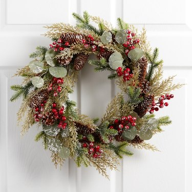Faux Pine And Eucalyptus With Red Berries Wreath