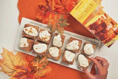 pumpkin baked goods on rectangular plate