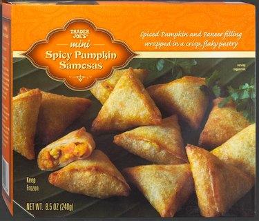 box of mini spicy pumpkin samosas