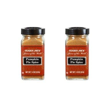 two spice jars of trader joe's pumpkin pie spice