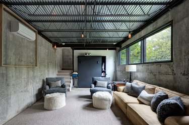 corrugated metal sheeting on basement ceiling